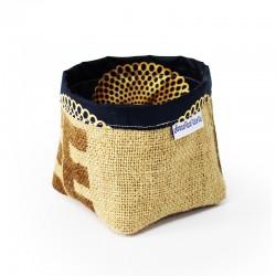 Panier - tissu noir et or